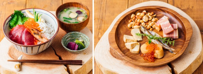(左)「海鮮丼ぶり」1600円、(右)「燻製の盛り合わせ」1,280円