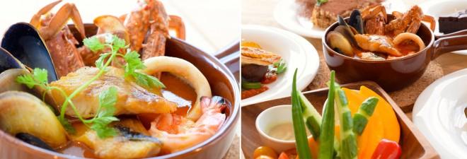 (左)「honohono名物 新鮮魚介のブイヤベース」1680円(リゾット+300円)