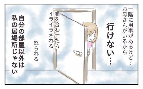 私が母の生活圏にいるとイライラされrため、トイレとお風呂以外は自分の部屋にこもっているような生活でした。どうしても母親のいる一階に行かなくては行けない時はとてもビクビクしていました。