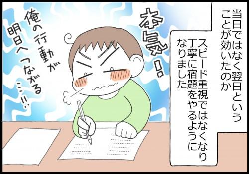 当日ではなく翌日というのが効いたのか、宿題を丁寧にやるようになりました。