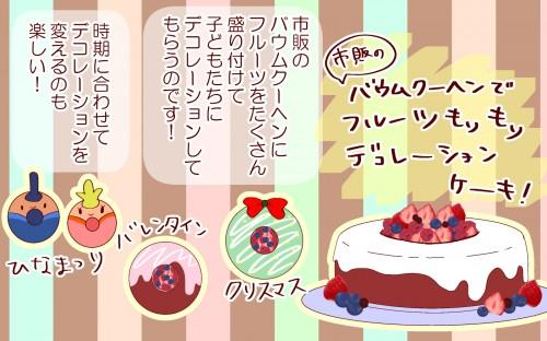 バウムクーヘンでフルーツもりもりデコレーションケーキ