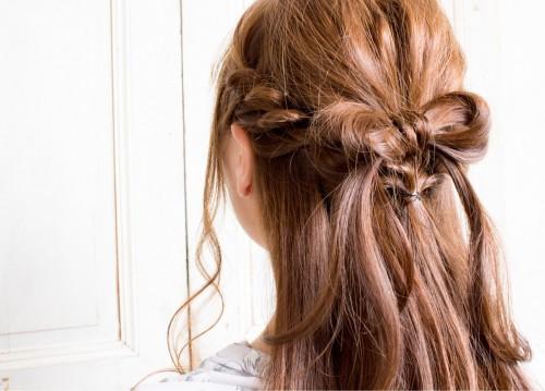 サムネイル リボンヘアアレンジで可愛いね をGET♪髪が短くてもOK!