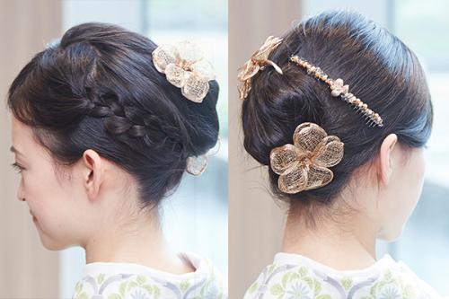 シックな花モチーフの髪かざりや小粒ストーンの飾り櫛でまとめて。<コレットマルーフ> フラワーベンダブル 15,000、シーパールコーム 19,000 / 銀座三越 (すべて税別)