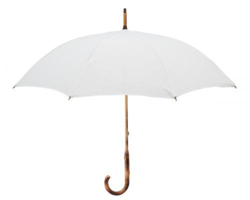 麻素材を使った日傘。白は明るい印象に。¥13,000(税抜)