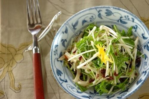 菊芋と水菜のユズ風味ラぺサラダ