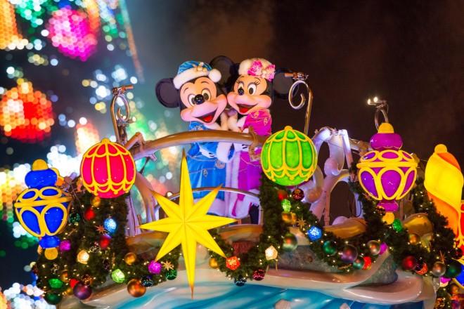 【クリスマスコスチュームのミッキー&ミニー】