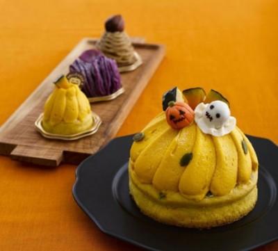 かぼちゃのモンブラン/カット 454円、4号(直径12cm)1620円【キハチ】※10月31日までの販売