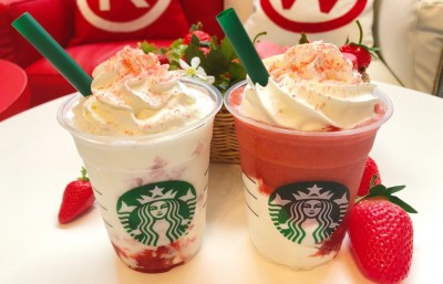 【4月11日発売】『#STRAWBERRYVERYMUCHFRAPPUCCINO__RED』『#STRAWBERRYVERYMUCHFRAPPUCCINO__WHITE』(C)oricon ME inc.