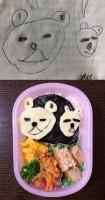 「クマの親子弁当」絵があまりにもやさぐれているので、幼稚園でフラストレーションがたまっていないか心配になったそう