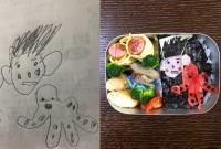 「パパとタコ弁当」タコはカニカマで描かれている
