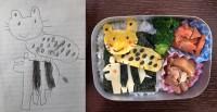「シビアな弁当」娘さんが描いたシマウマとヒョウを再現。「シマウマはヒョウを下ろすと食べられちゃうから、ずっと背中に乗せて無いといけないの」と娘さんが状況を説明。とてもシビアな世界観が表現されている