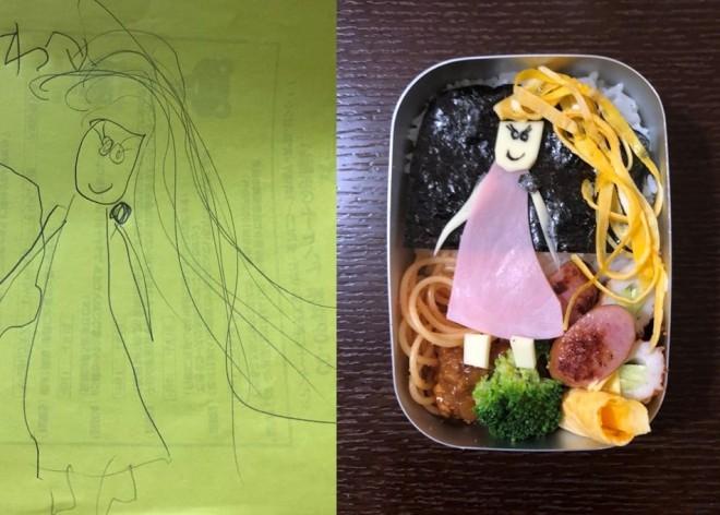 娘さんの大好きなキャラクター、ラプンツェルが描かれたキャラ弁(画像提供:ザ・ギース尾関さん)