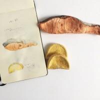【焼き鮭とたくあん】スケッチでイメージを確認。制作&写真/yacmii