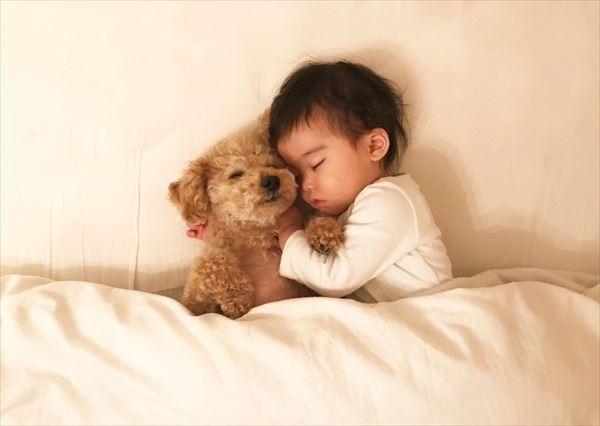 赤ちゃんの頃から一緒に寝ているゆずはちゃんとここなちゃん