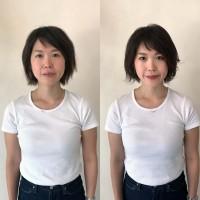 【左before→右after】重いまぶたをつけまつ毛で上げて濃くて印象的な目元に。