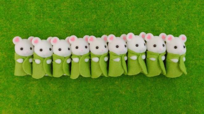 ひよこさんを虜にしたマシュマロネズミの三つ子ちゃん3組葉っぱver.(画像提供:ひよこさん)