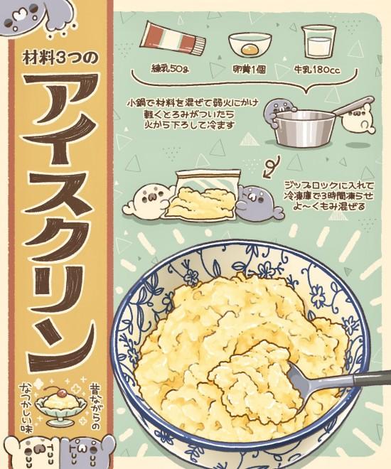 「昔ながらのアイスクリン」イラストレシピ 作・画像提供/イラスト料理研究家・ぼく氏