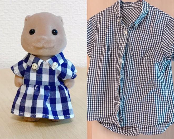 「5年以上愛用してすっかりくたびれたシャツをカワウソのワンピースにしました」 画像提供:カワウソ(@8sh0)