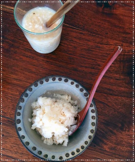 肌に良いと聞いて取り入れているはと麦入りの甘酒。夏には凍らせてシャーベット状にすると子どもも大好きなオヤツに変身。(photo by AYUMI)