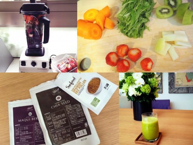 毎朝作っているグリーンジュース。たくさんの野菜やフルーツ、スーパーフードを入れるなど工夫をしています(photo by maki tamaru)