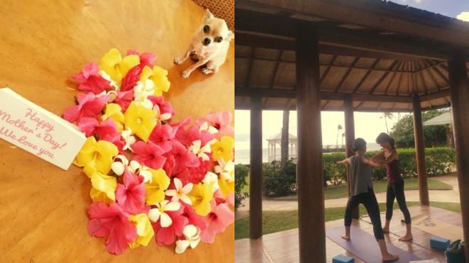 (左)子どもたちから「母の日」の贈り物はハート型の花(右)娘さんとヨガをする様子