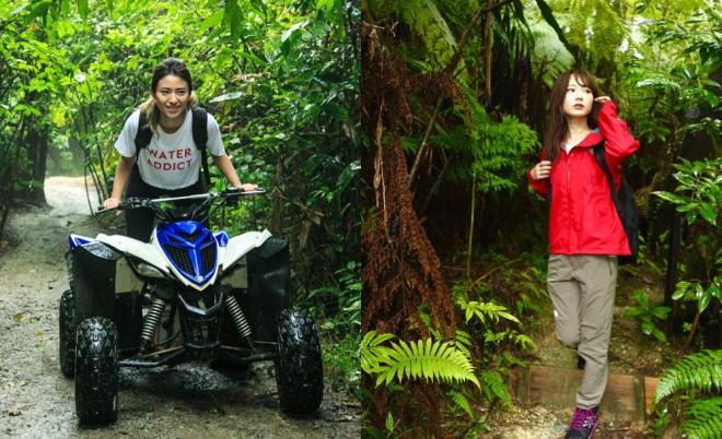 亜熱帯雨林をバギーで疾走する山中美智子と、うっそうとした道を分け入る西川瑞希