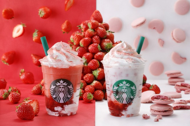 4月11日発売の(写真左より)『#STRAWBERRYVERYMUCHFRAPPUCCINO_RED』と『#STRAWBERRYVERYMUCHFRAPPUCCINO_WHITE』