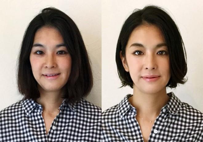 【左before→右after】眉と目周りをブラウンにして柔らかく。面長なのでチークは横方向に。