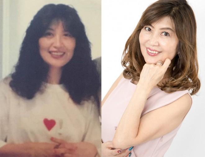 (左)40歳ころ→(右)69歳現在、奇跡的な肌を持つ上野潤子さん
