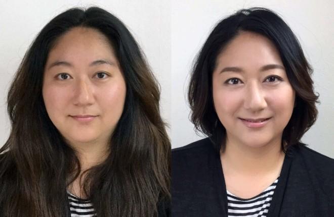 (左)ビフォア→(右)アフター。『ビューティチェンジ』で変身した40代女性