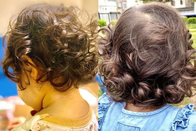 母「4か月前 → 今日  娘と娘のくせっ毛の成長から目が離せません(一向に肩につかない)」