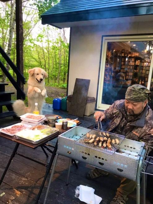飼い主さんのお父さんが焼いてくれる肉に反応するディッパーちゃん(画像提供:@CRF250L1114)